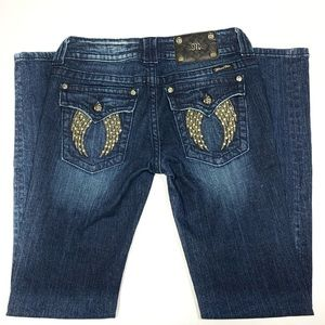 Miss Me Crystal Angel Wing Medium Rise Skinny Jean